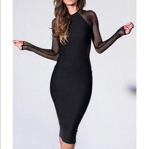 Missguided black mesh fishnet sleeve dress